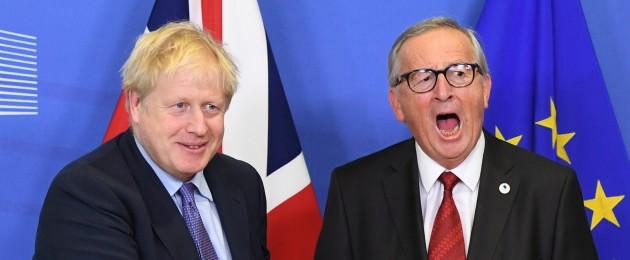 UK Prime Minister Boris Johnson and Jean-Claude Juncker, President of the European Commission, ahead of the opening sessions of the European Council summit