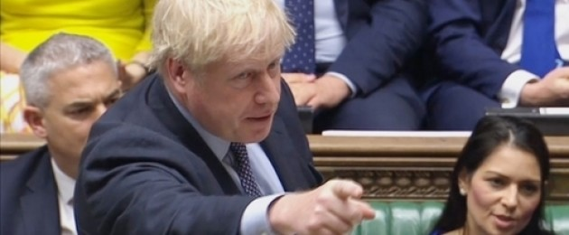 Boris Johnson delivering his opening statement to the House of Commons.