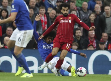 The midfielder's tackle on Salah late in Saturday's game at Anfield.
