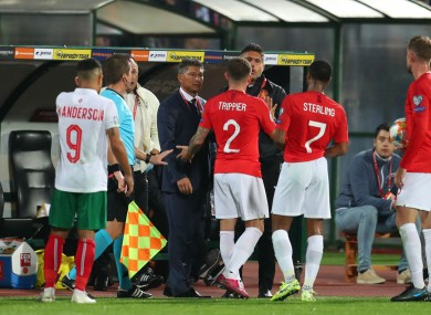 England players protest in Bulgaria.