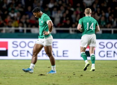 Bundee Aki leaves the field after his red card against Samoa.