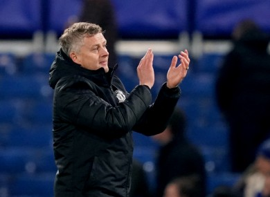 Manchester United manager Ole Gunnar Solskjaer applauds the fans at the end of the Carabao Cup, Fourth Round match at Stamford Bridge.
