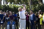 Trump hitting a ceremonial tee shot off the first tee at Trump National Doral in 2014