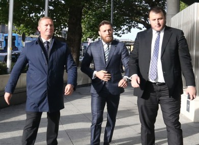 Conor McGregor arriving at court this morning