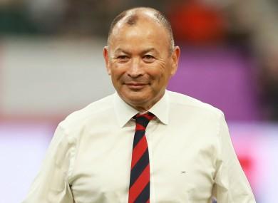 Job done: England boss Eddie Jones at the RWC quarter-final against Australia.