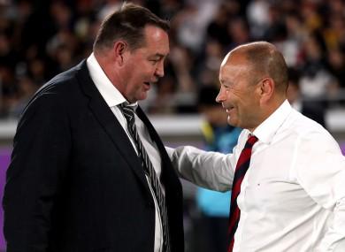 Steve Hansen and Eddie Jones share a word after Saturday's semi-final clash in Yokohama.
