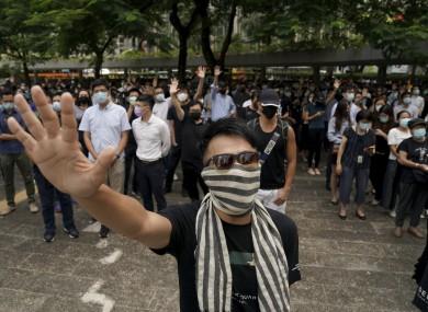 A masked protester during a Hong Kong rally
