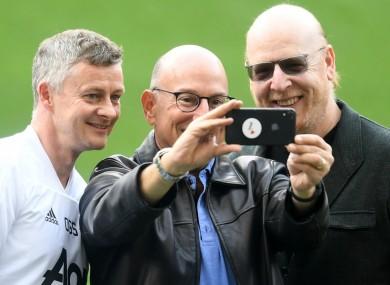 Avram and Joel Glazer with Manchester United manager Ole Gunnar Solskjaer.