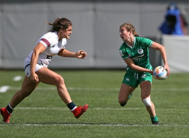 Ireland's Emily Lane in action against USA.