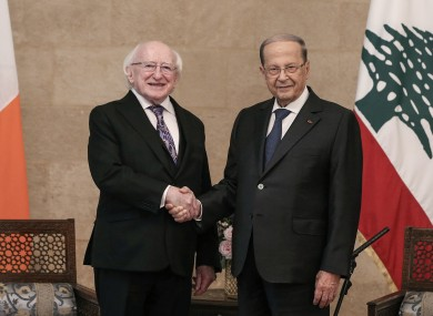 Lebanese President Michel Aoun shakes hands with President Michael D Higgins during their meeting on Thursday
