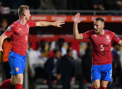 Jakub Brabec (left) celebrates scoring against England.
