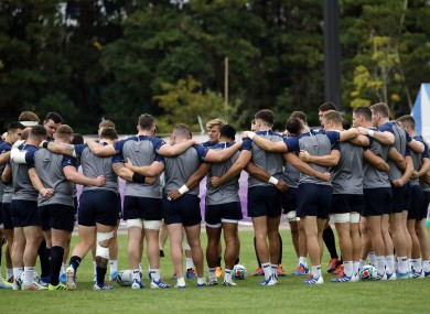Ireland' players huddle during a training session in Urayasu, outside Tokyo, Japan.