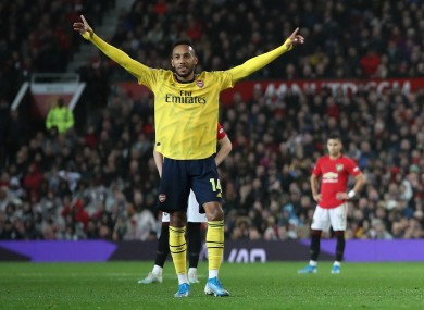 Aubameyang celebrating his goal against Man United on Monday.