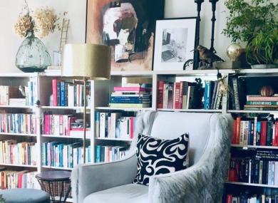 Naomi's bookshelves in her home.