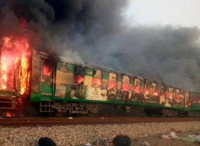 The train on fire earlier today.