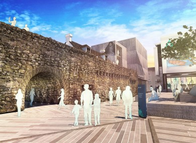 Artist impression of plaza at the new museum at the Spanish Arch.