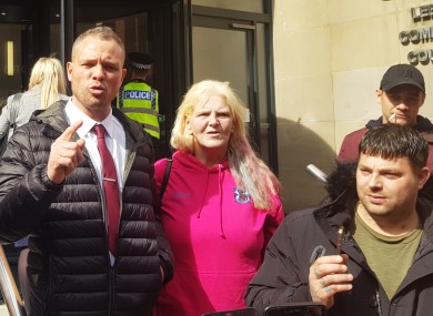 Defendant Phillip Hoban (left) addressing his supporters outside Leeds Crown Court