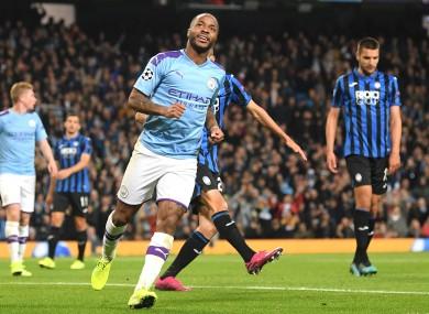 Raheem Sterling celebrates scoring against Atalanta last night.