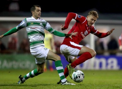 Shamrock Rovers' Sean Kavanagh and Kris Twardek of Sligo.