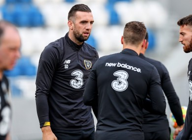 Shane Duffy trains with the Irish team in Georgia today.