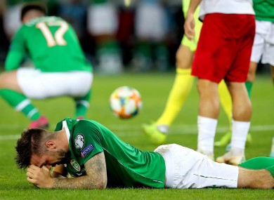 Shane Duffy shows his disappointment after Ireland draw with Georgia.
