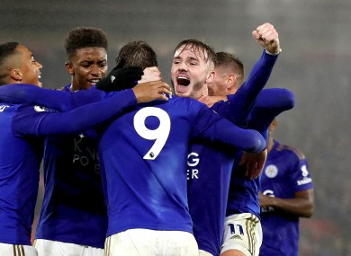 Jamie Vardy and his Leicester City team-mates celebrate against Southampton.