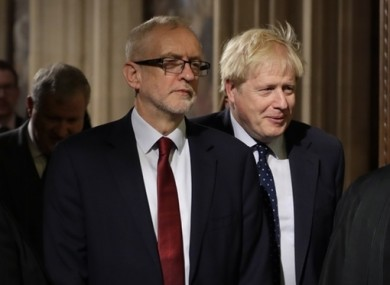 Corbyn and Johnson in Westminster.