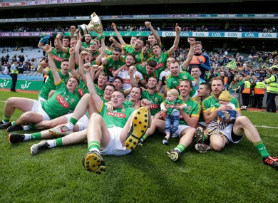The Meath team celebrate with the Christy Ring Cup.