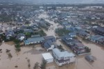 Nagano in Japan inundated after the river banks of the Chikumagawa River collapsed.