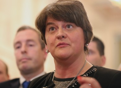 DUP leader Arlene Foster and party MLAs after leaving the Stormont chamber yesterday.
