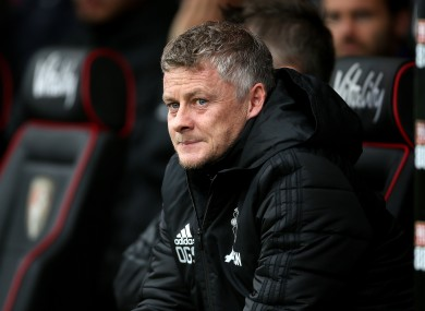 Ole Gunnar Solskjaer looks on at his side's defeat to Bournemouth.