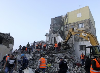Rescuers searching for victims following the earthquake in Thumane, Albania