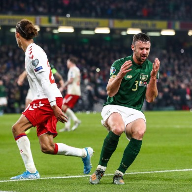 Enda Stevens reacts to a late chance.