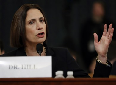 Former White House national security aide Fiona Hill testifies before the House Intelligence Committee