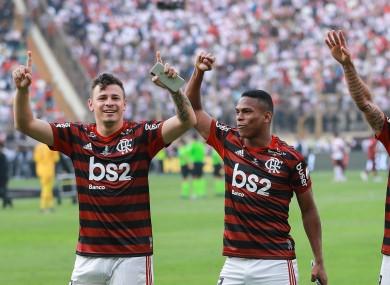 Flamengo's Hugo Moura, Rafinha and Lucas Silva.
