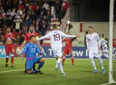 Switzerland's Cedric Itten celebrates after scoring a goal.