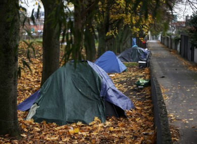 Homeless peoples' tents on the banks of the Royal Canal in Dublin, 2017.