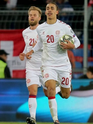 Yussuf Poulsen (right), who scored the winner against Switzerland last month, and Christian Gytkjaer, are both in the latest squad.
