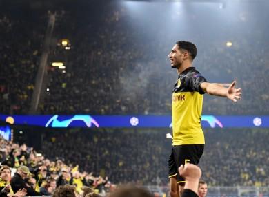 Achraf Hakimi celebrates capping Dortmund's stunning comeback win.