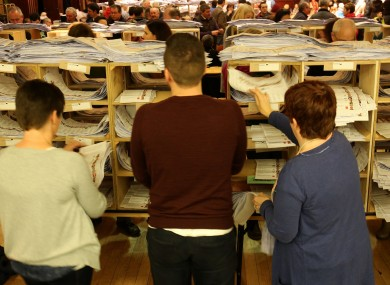 Counting votes at the Cork City Hall at the 2016 general election.