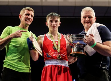 Winners: Donovan, left, with Irish champion Jude Gallagher and John Gallagher.