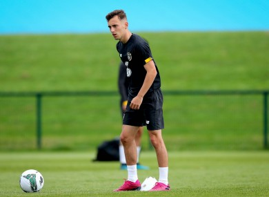 Lee O'Connor training with Ireland's U21s.