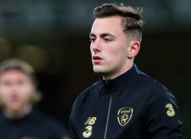 Ireland's Lee O'Connor pictured during the warm-up last night.