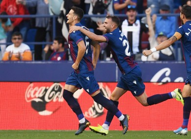 Levante celebrate their second-half comeback against Barcelona