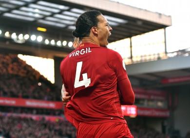 Virgil van Dijk celebrates.