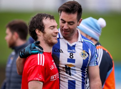 Ballyboden St. Enda's midfielder Michael Darragh Macauley and Colm Judge after the game.