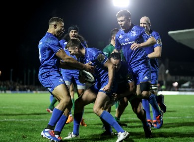 Ross Byrne celebrates Leinster's fifth first-half try.
