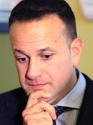 Taoiseach Leo Varadkar speaking to the media about the RTE restructuring while canvassing in Clondalkin