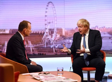 Boris Johnson being interviewed by Andrew Marr in December 2016