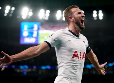 Harry Kane celebrates his second goal tonight.